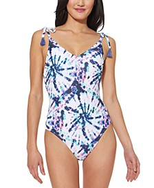 Tie-Dyed Tie-Shoulder One-Piece Swimsuit