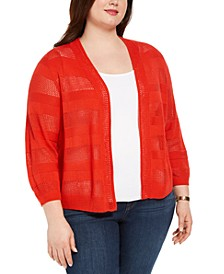 Plus Size Pointelle Stripe Cardigan Sweater, Created for Macy's