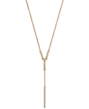 18k Gold-Plated Cubic Zirconia Pave Lariat Necklace