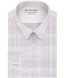 Men's Extra-Slim Fit Temperature-Regulating Performance Stretch Multi-Check Dress Shirt
