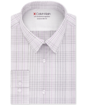 Calvin Klein Men's Extra-Slim Fit Temperature-Regulating Performance Stretch Multi-Check Dress Shirt