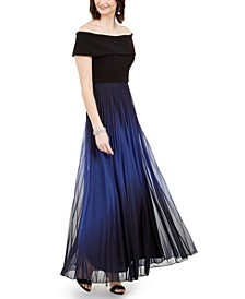 Off-The-Shoulder Pleated Glitter Gown