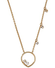 "Gold-Tone Floating Crystal Open Pendant Necklace, 16"" + 1"" extender"