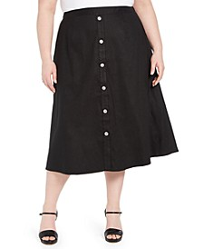 Plus Size Button-Trim Linen Midi Skirt