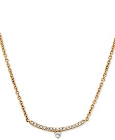 "18k Gold-Plated Cubic Zirconia Curved Bar Pendant Necklace, 16"" + 1"" extender"