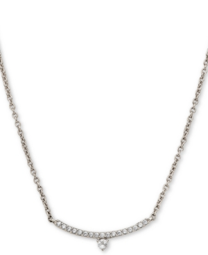 18k Gold-Plated Cubic Zirconia Curved Bar Pendant Necklace