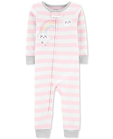 Baby Girls Rainbow Striped Footless Cotton Pajamas