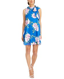 Petite Floral-Print Chiffon Bow Dress