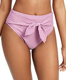 Smocked Tie-Front High-Waist Bikini Bottoms