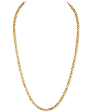 """22"""" Wheat Chain Link Necklace in 14k Gold-Plated Sterling Silver"""