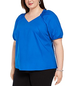 Plus Size Smocked-Neck Blouse, Created for Macy's