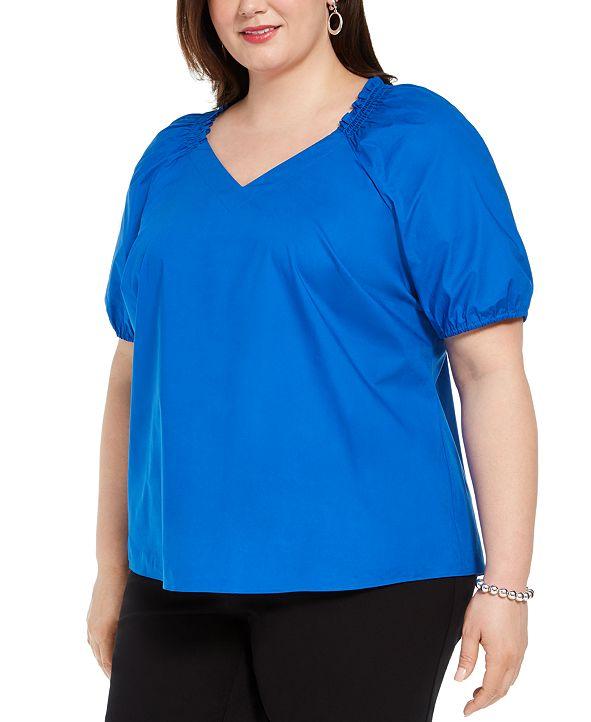 Alfani Plus Size Smocked-Neck Blouse, Created for Macy's