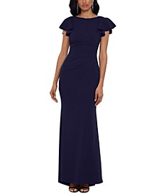 Petite Ruched Ruffled-Sleeve Gown