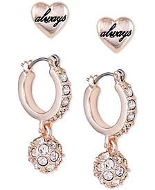Rose Gold-Tone 2-Pc. Set Heart Stud & Crystal Huggie Hoop Earrings