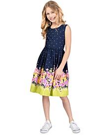 Big Girls Printed Bow-Back Poplin Dress