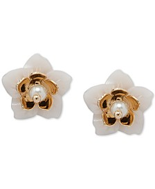 Gold-Tone Imitation Pearl Flower Stud Earrings