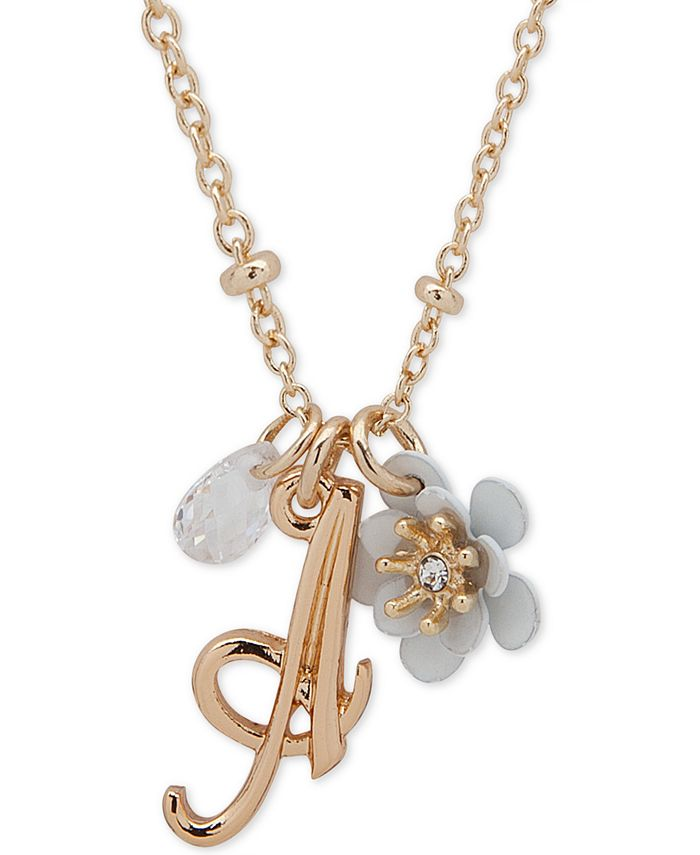lonna & lilly - Gold-Tone Flower & Initial Pendant Necklace