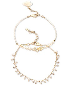 Gold-Tone 2-Pc. Set White Pearl (5mm) Anklets