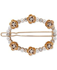 Gold-Tone Crystal & Imitation Pearl Flower Open Hair Barrette