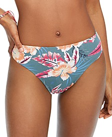 Juniors' Floral-Print High-Leg Bikini Bottoms