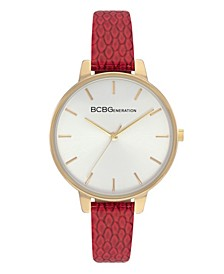 Ladies 3 Hands Slim Red Genuine Leather Strap Watch, 36 mm Case
