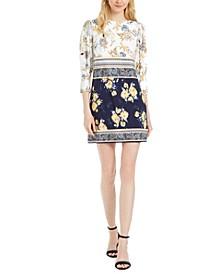 Petite Patchwork-Floral Dress