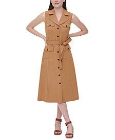 Calvin Klein Belted Sleeveless Shirtdress