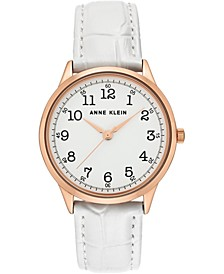 Women's White Leather Strap Watch 36mm