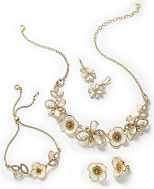 Gold-Tone Crystal & Stone Flower Jewelry Separates
