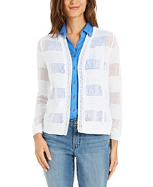 Striped Pointelle Cardigan Sweater, Created for Macy's