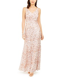 Metallic Sequin-Print Gown