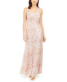 Nightway Metallic Sequin-Print Gown