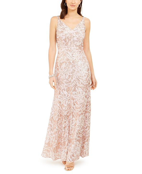 Nightway Metallic Sequin-Print Gown