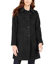 Petite Single-Breasted Club-Collar Coat