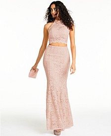 Juniors' 2-Pc. Lace Halter Gown