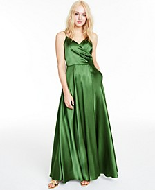 Juniors' Satin Drape-Front Gown