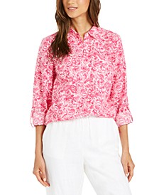 Petite Printed Button-Front Roll-Tab-Sleeve Top, Created for Macy's