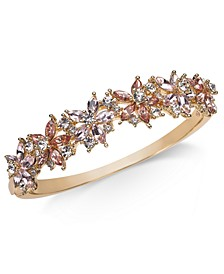 Gold-Tone Crystal & Stone Flower Bangle Bracelet, Created for Macy's