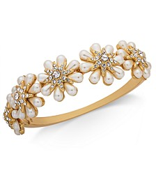 Gold-Tone Crystal & Imitation Pearl Flower Bangle Bracelet, Created for Macy's