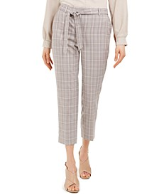 X-Fit Plaid Tie-Belted Slim Fit Pants