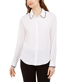 Long-Sleeve Collared Top