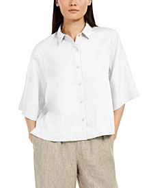 Elbow-Sleeve Button-Front Top, Regular & Petite Sizes