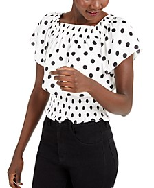 INC Dot-Print Short-Sleeve Top, Created for Macy's