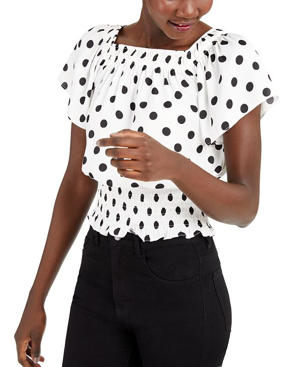 INC International Concepts INC Dot-Print Short-Sleeve Top, Created for Macy's