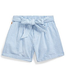Big Girls Belted Cotton Seersucker Shorts