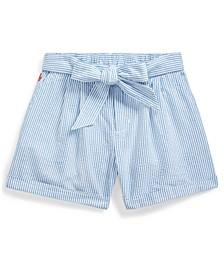 폴로 랄프로렌 걸즈 데님 반바지 Polo Ralph Lauren Big Girls Belted Cotton Seersucker Shorts,Blue-White