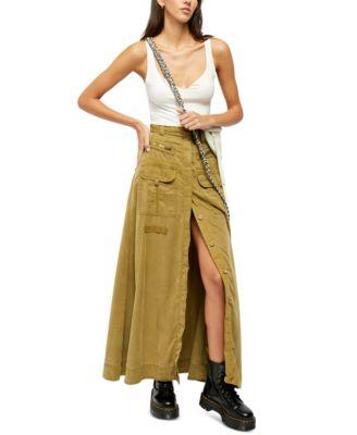 New Juniors 2XL 19 Ivory Walk Through Skirt Shorts Long Skirt Brown Belt Rayon