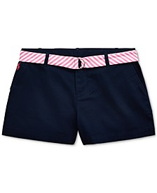 폴로 랄프로렌 Polo Ralph Lauren Big Girls Belted Cotton Chino Shorts,French Navy