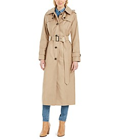 Petite Hooded Water-Repellent Trench Coat