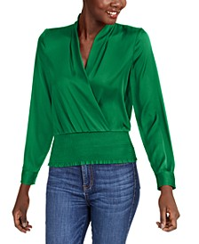 INC Smocked Satin Surplice Top, Created for Macy's